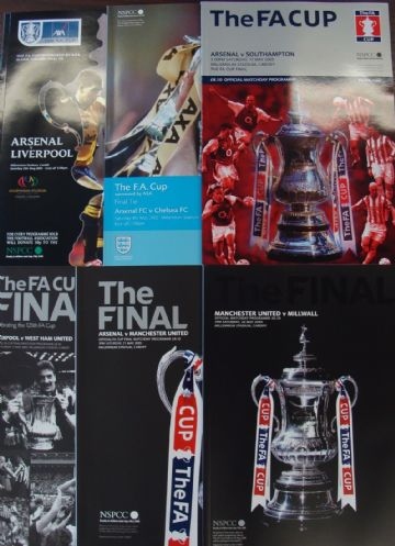 Complete set of FA CUP FINAL PROGRAMMES whilst Wembley was being rebuilt 2001 to 2006